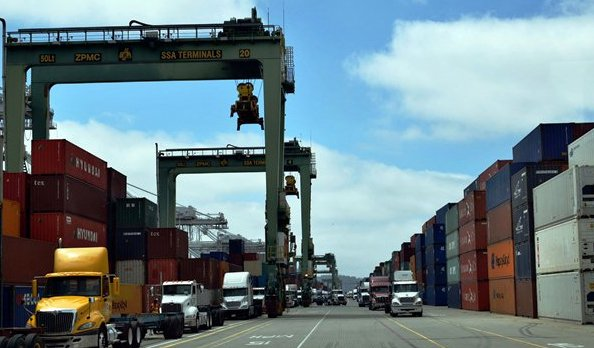 Container ships are arriving in US West Coast ports loaded below capacity
