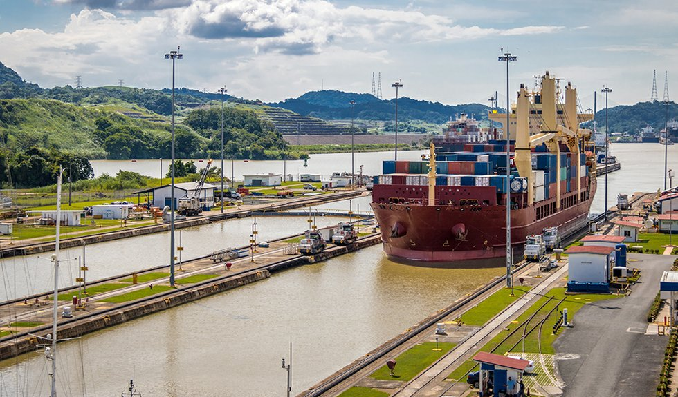Ship crossing Panama Canal at Miraflores Locks - Panama City, Pa