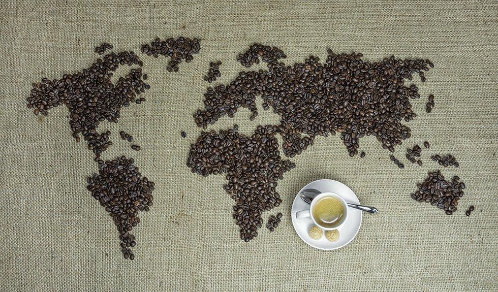 Kaffee, Weltkarte, Kaffeetasse